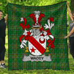 1sttheworld Premium Quilt - Waddy Irish Family Crest Quilt - Irish National Tartan A7