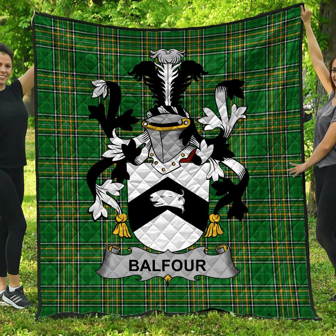 1sttheworld Premium Quilt - Balfour Irish Family Crest Quilt - Irish National Tartan A7