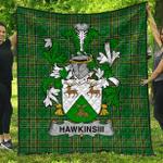 1sttheworld Premium Quilt - Hawkinsiii Irish Family Crest Quilt - Irish National Tartan A7