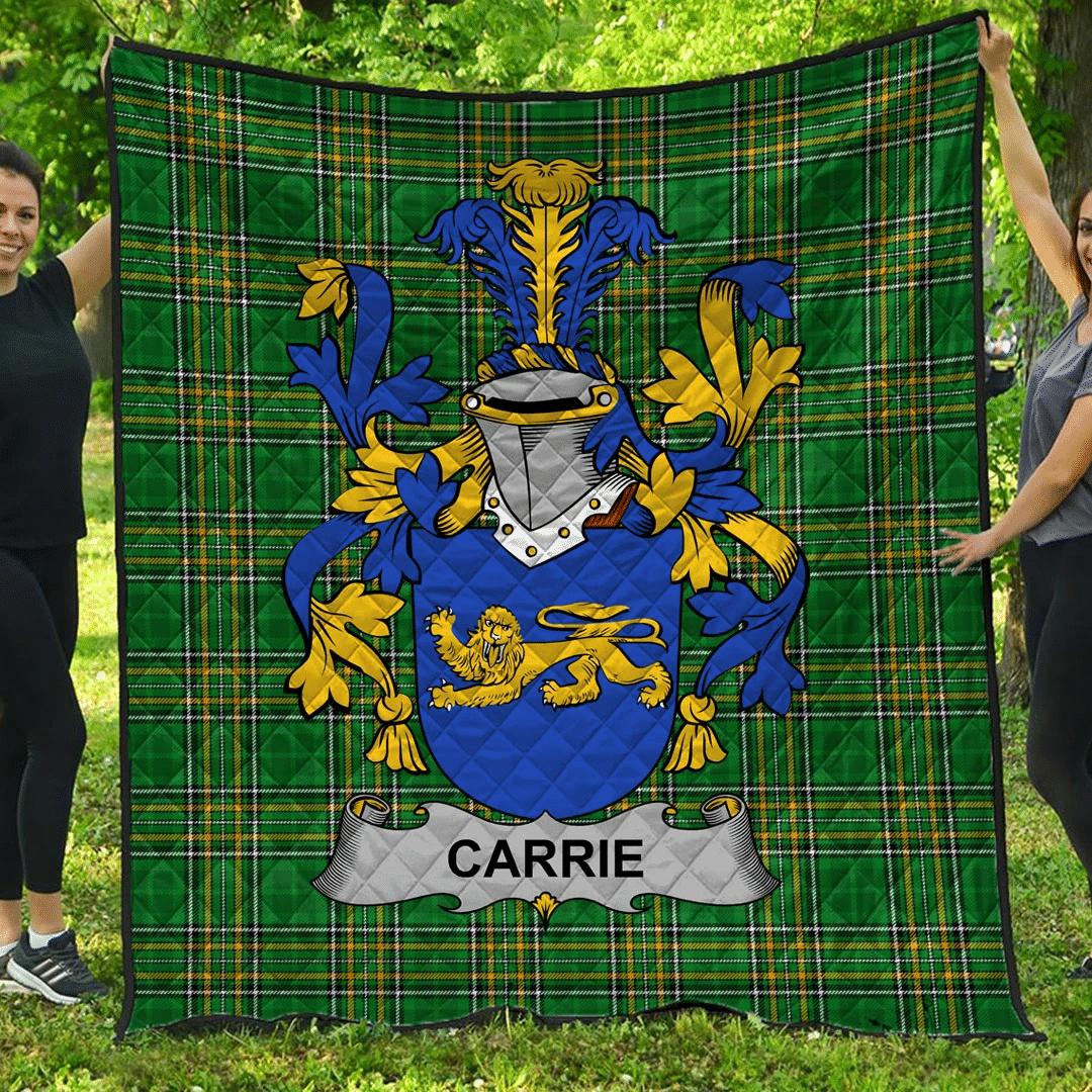 1sttheworld Premium Quilt - Carrie Or O'Carrie Irish Family Crest Quilt - Irish National Tartan A7