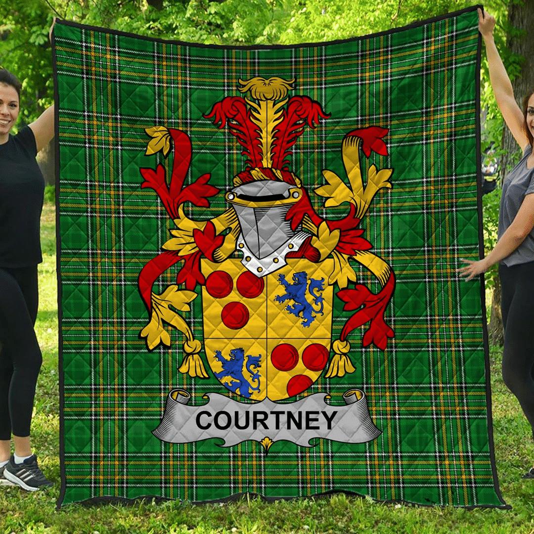 1sttheworld Premium Quilt - Courtney Irish Family Crest Quilt - Irish National Tartan A7