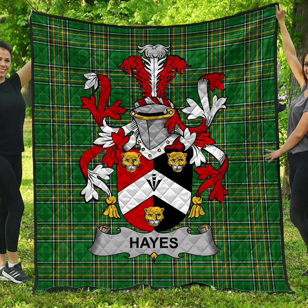 1sttheworld Premium Quilt - Hayes Irish Family Crest Quilt - Irish National Tartan A7