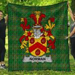 1sttheworld Premium Quilt - Norman Irish Family Crest Quilt - Irish National Tartan A7