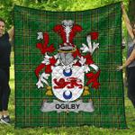 1sttheworld Premium Quilt - Ogilby Irish Family Crest Quilt - Irish National Tartan A7