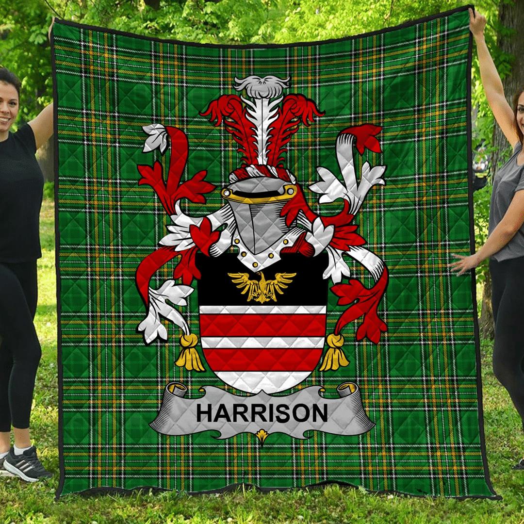 1sttheworld Premium Quilt - Harrison Irish Family Crest Quilt - Irish National Tartan A7