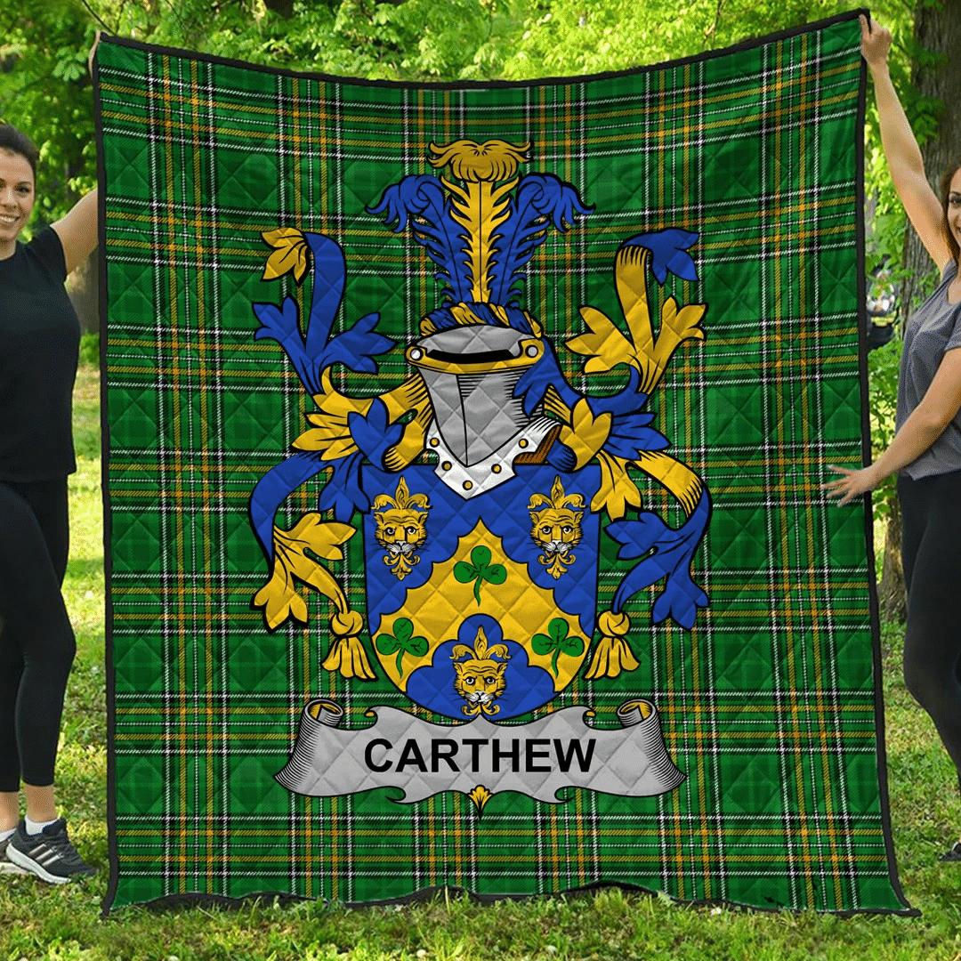1sttheworld Premium Quilt - Carthew Irish Family Crest Quilt - Irish National Tartan A7