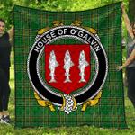 1sttheworld Premium Quilt - House Of O'Galvin Irish Family Crest Quilt - Irish National Tartan A7