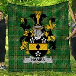 1sttheworld Premium Quilt - Hames Irish Family Crest Quilt - Irish National Tartan A7