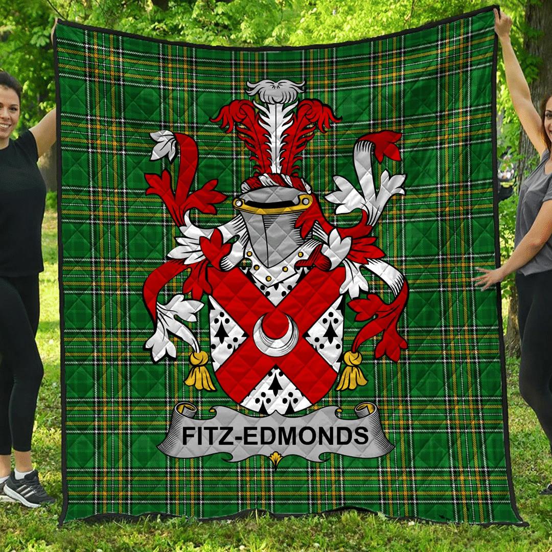 1sttheworld Premium Quilt - Fitz-Edmonds Irish Family Crest Quilt - Irish National Tartan A7