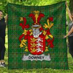 1sttheworld Premium Quilt - Downey Or O'Downey Irish Family Crest Quilt - Irish National Tartan A7