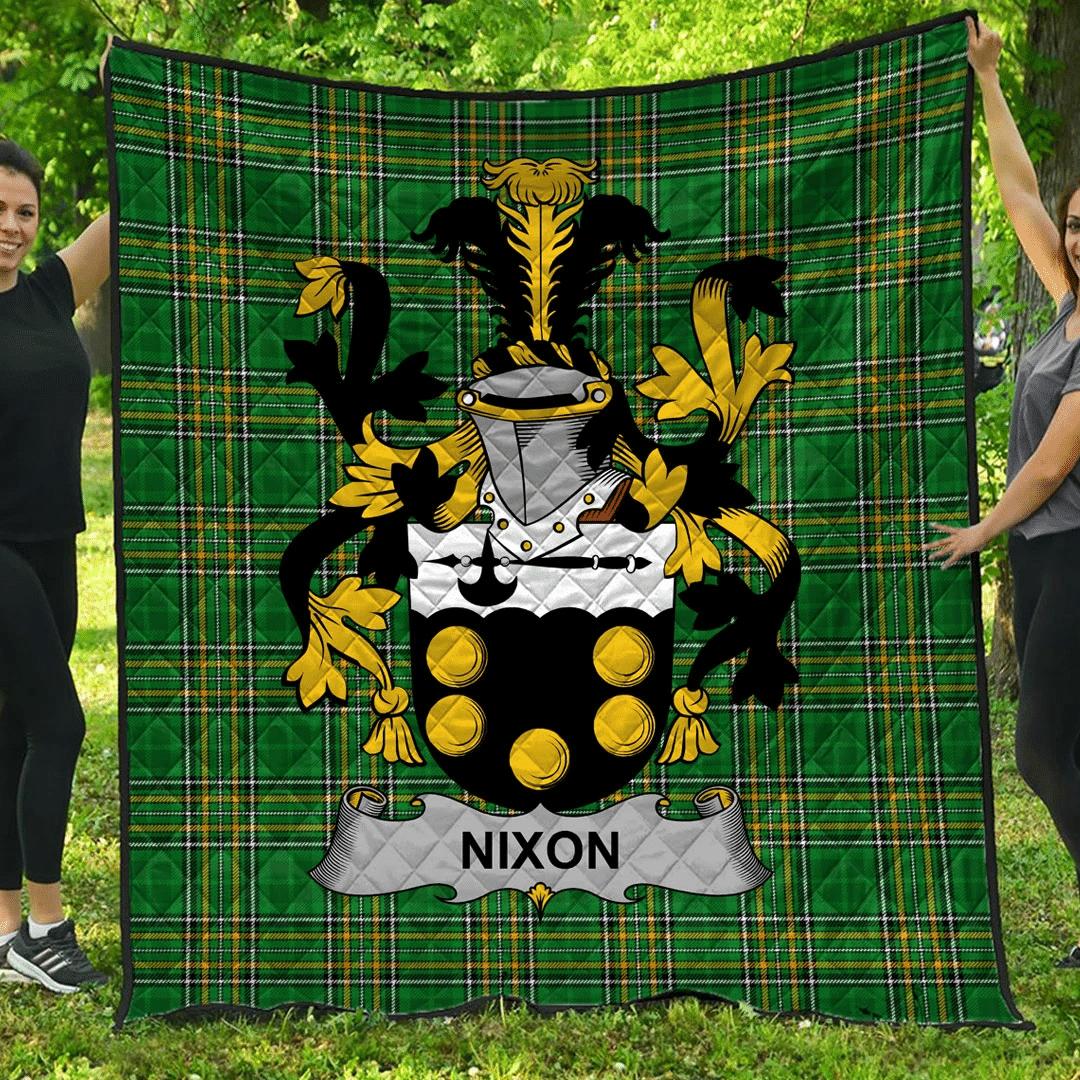 1sttheworld Premium Quilt - Nixon Irish Family Crest Quilt - Irish National Tartan A7