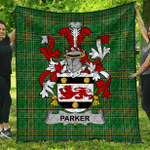 1sttheworld Premium Quilt - Parker Irish Family Crest Quilt - Irish National Tartan A7