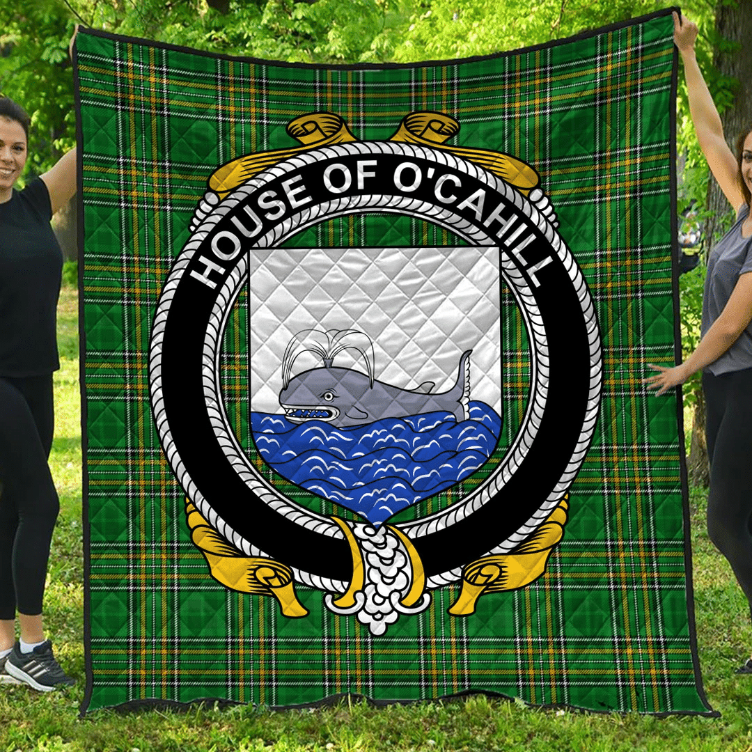 1sttheworld Premium Quilt - House Of O'Cahill Irish Family Crest Quilt - Irish National Tartan A7