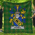 1sttheworld Premium Quilt - Tuthill Irish Family Crest Quilt - Irish National Tartan A7