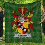 1sttheworld Premium Quilt - Hannon Or O'Hannon Irish Family Crest Quilt - Irish National Tartan A7