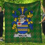 1sttheworld Premium Quilt - Wallis Irish Family Crest Quilt - Irish National Tartan A7