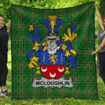1sttheworld Premium Quilt - Mcloughlin Or Loughlin Irish Family Crest Quilt - Irish National Tartan A7