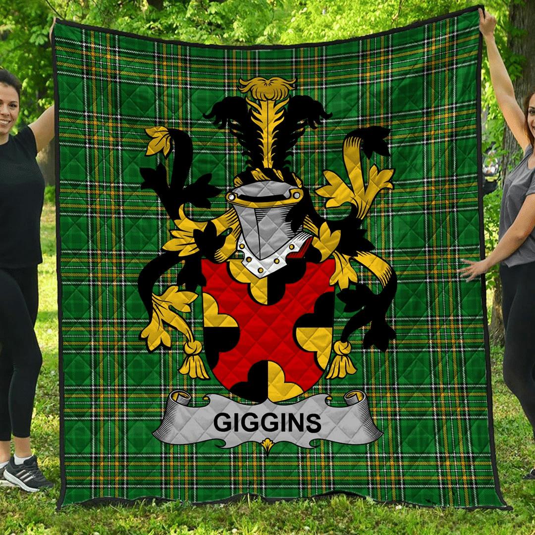 1sttheworld Premium Quilt - Giggins Irish Family Crest Quilt - Irish National Tartan A7
