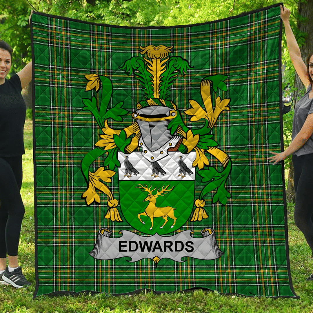 1sttheworld Premium Quilt - Edwards Irish Family Crest Quilt - Irish National Tartan A7
