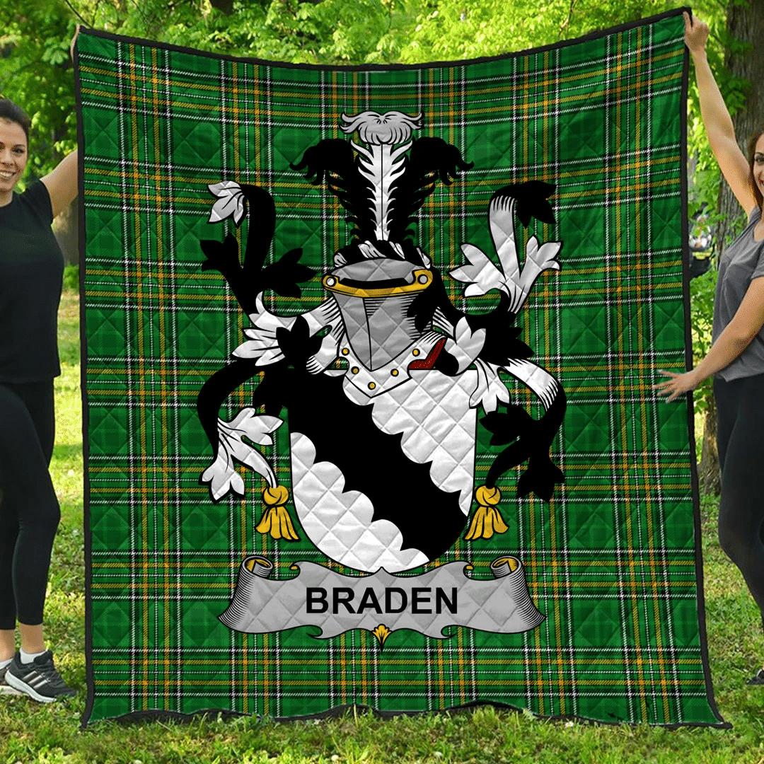 1sttheworld Premium Quilt - Braden Or O'Braden Irish Family Crest Quilt - Irish National Tartan A7