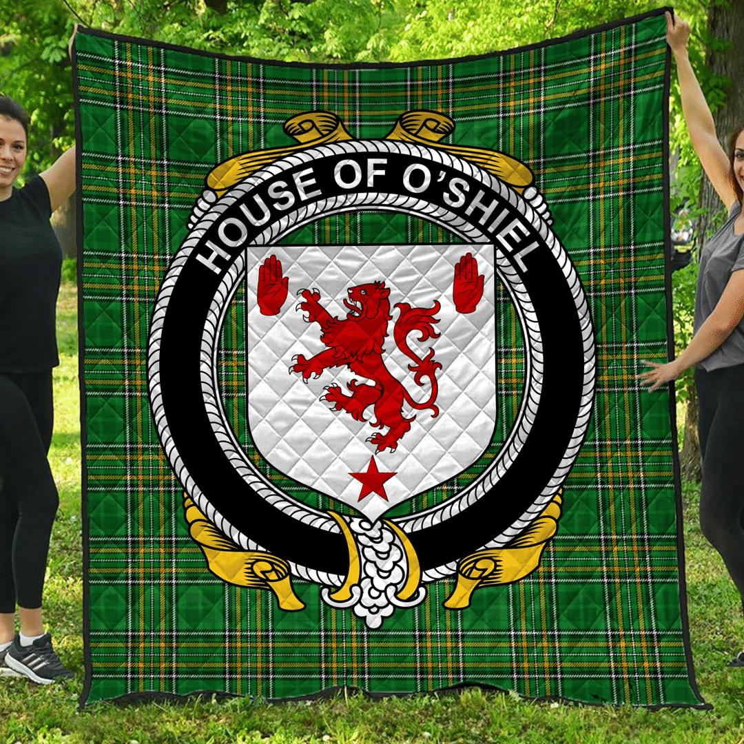 1sttheworld Premium Quilt - House Of O'Shiel Irish Family Crest Quilt - Irish National Tartan A7