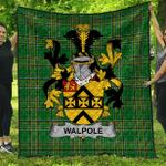 1sttheworld Premium Quilt - Walpole Irish Family Crest Quilt - Irish National Tartan A7