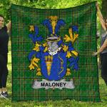 1sttheworld Premium Quilt - Maloney Or O'Molony Irish Family Crest Quilt - Irish National Tartan A7