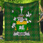 1sttheworld Premium Quilt - Quinn Or O'Quin Irish Family Crest Quilt - Irish National Tartan A7
