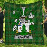 1sttheworld Premium Quilt - Mcalpine Or Macalpin Irish Family Crest Quilt - Irish National Tartan A7