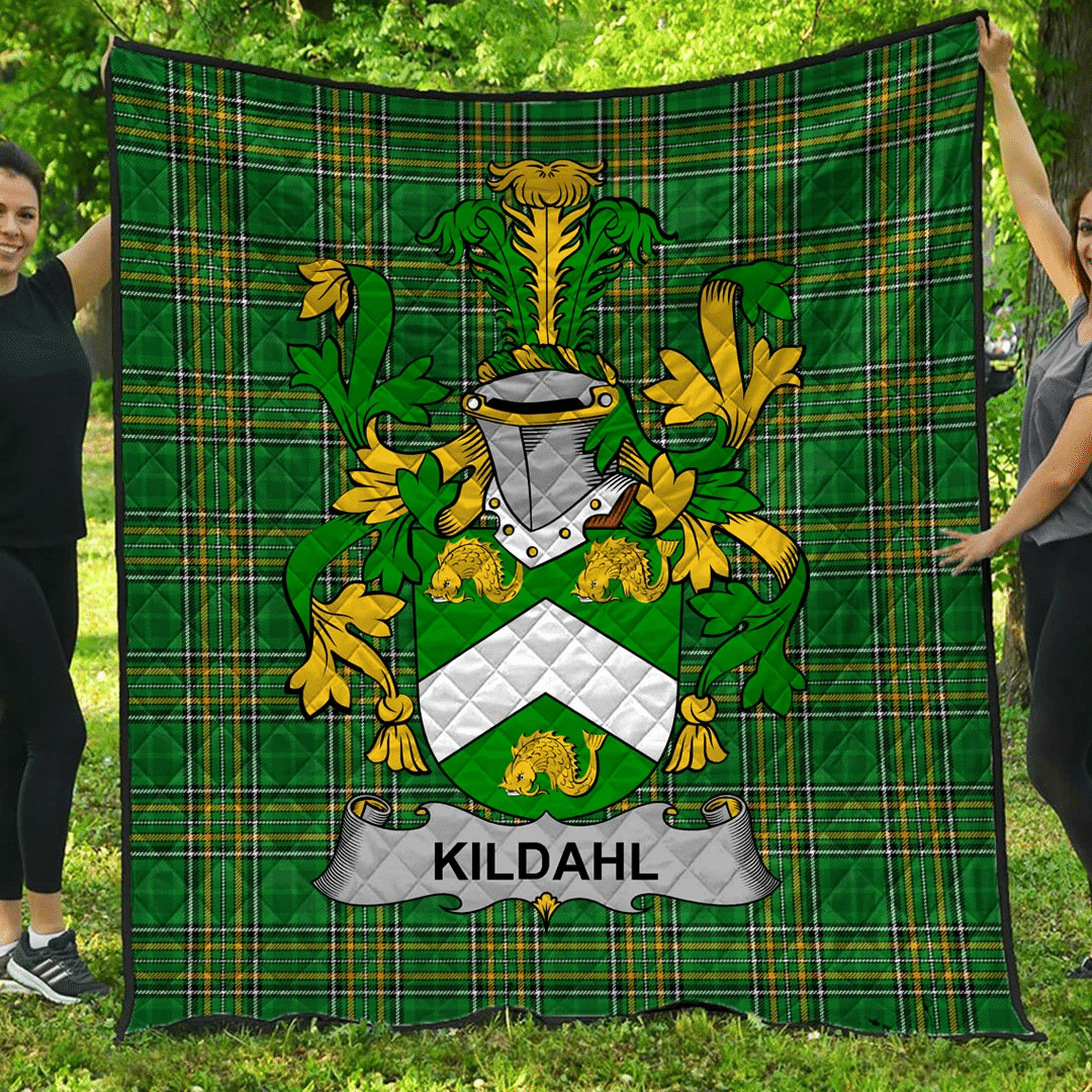 1sttheworld Premium Quilt - Kildahl Irish Family Crest Quilt - Irish National Tartan A7