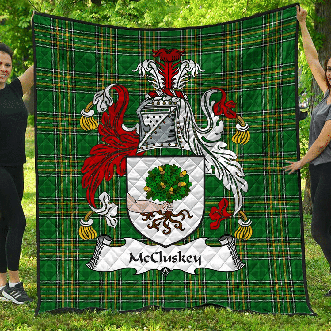 1sttheworld Premium Quilt - Mccluskey Irish Family Crest Quilt - Irish National Tartan A7