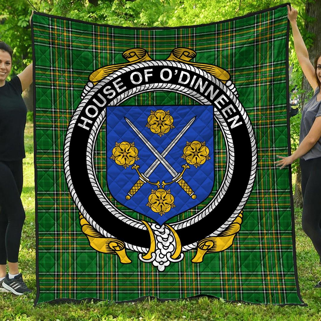 1sttheworld Premium Quilt - House Of O'Dinneen Irish Family Crest Quilt - Irish National Tartan A7