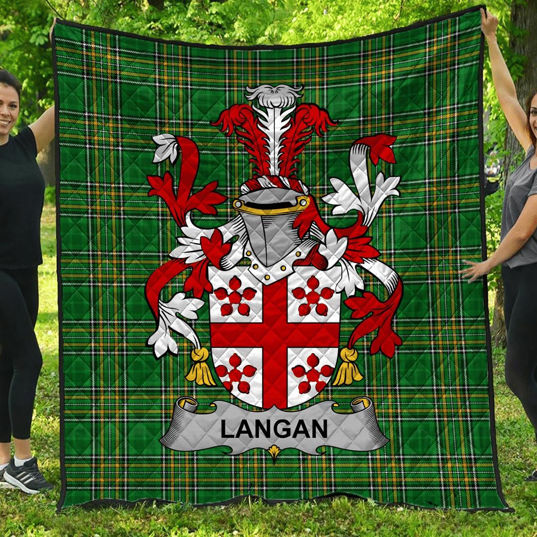 1sttheworld Premium Quilt - Langan Or O'Longan Irish Family Crest Quilt - Irish National Tartan A7