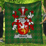 1sttheworld Premium Quilt - Grace Irish Family Crest Quilt - Irish National Tartan A7
