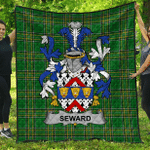 1sttheworld Premium Quilt - Seward Irish Family Crest Quilt - Irish National Tartan A7
