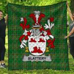 1sttheworld Premium Quilt - Slattery Or O'Slattery Irish Family Crest Quilt - Irish National Tartan A7