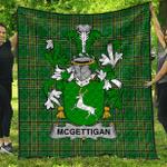 1sttheworld Premium Quilt - Mcgettigan Or Gethin Irish Family Crest Quilt - Irish National Tartan A7
