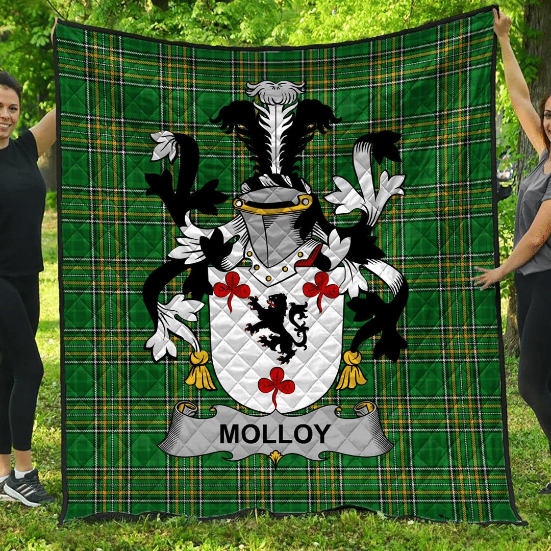 1sttheworld Premium Quilt - Molloy Or O'Mulloy Irish Family Crest Quilt - Irish National Tartan A7