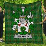 1sttheworld Premium Quilt - Geraghty Or Mcgarrity Irish Family Crest Quilt - Irish National Tartan A7