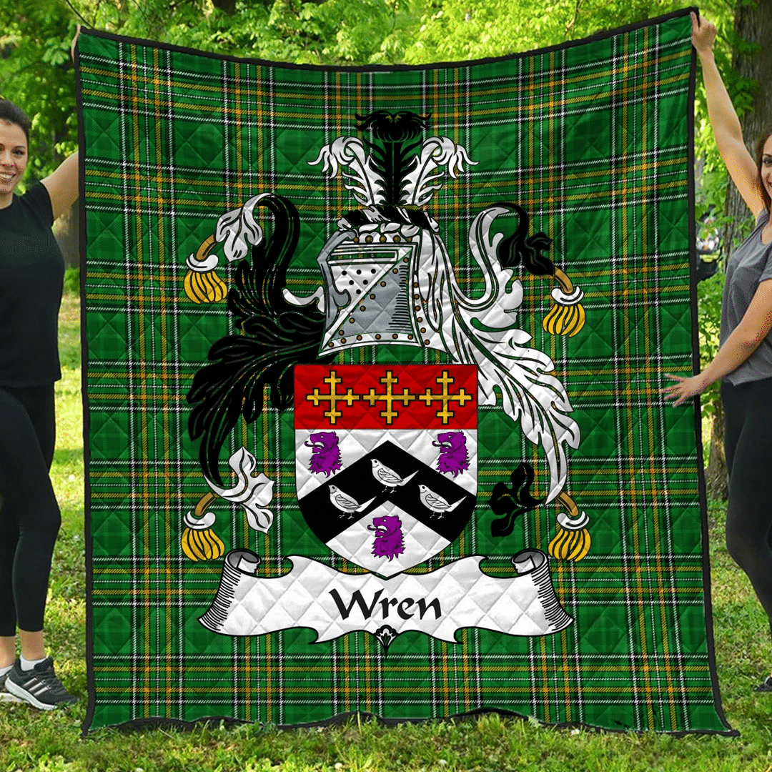 1sttheworld Premium Quilt - Wren Or Wrenn Irish Family Crest Quilt - Irish National Tartan A7