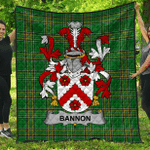 1sttheworld Premium Quilt - Bannon Or O'Bannon Irish Family Crest Quilt - Irish National Tartan A7
