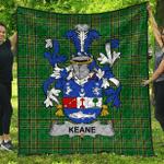 1sttheworld Premium Quilt - Keane Or O'Cahan Irish Family Crest Quilt - Irish National Tartan A7