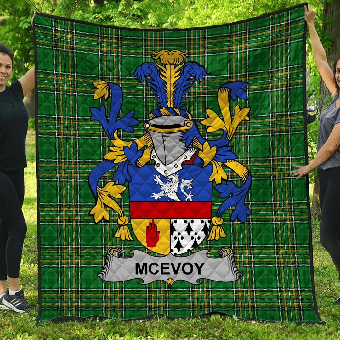 1sttheworld Premium Quilt - Mcevoy Or Mckelvey Irish Family Crest Quilt - Irish National Tartan A7
