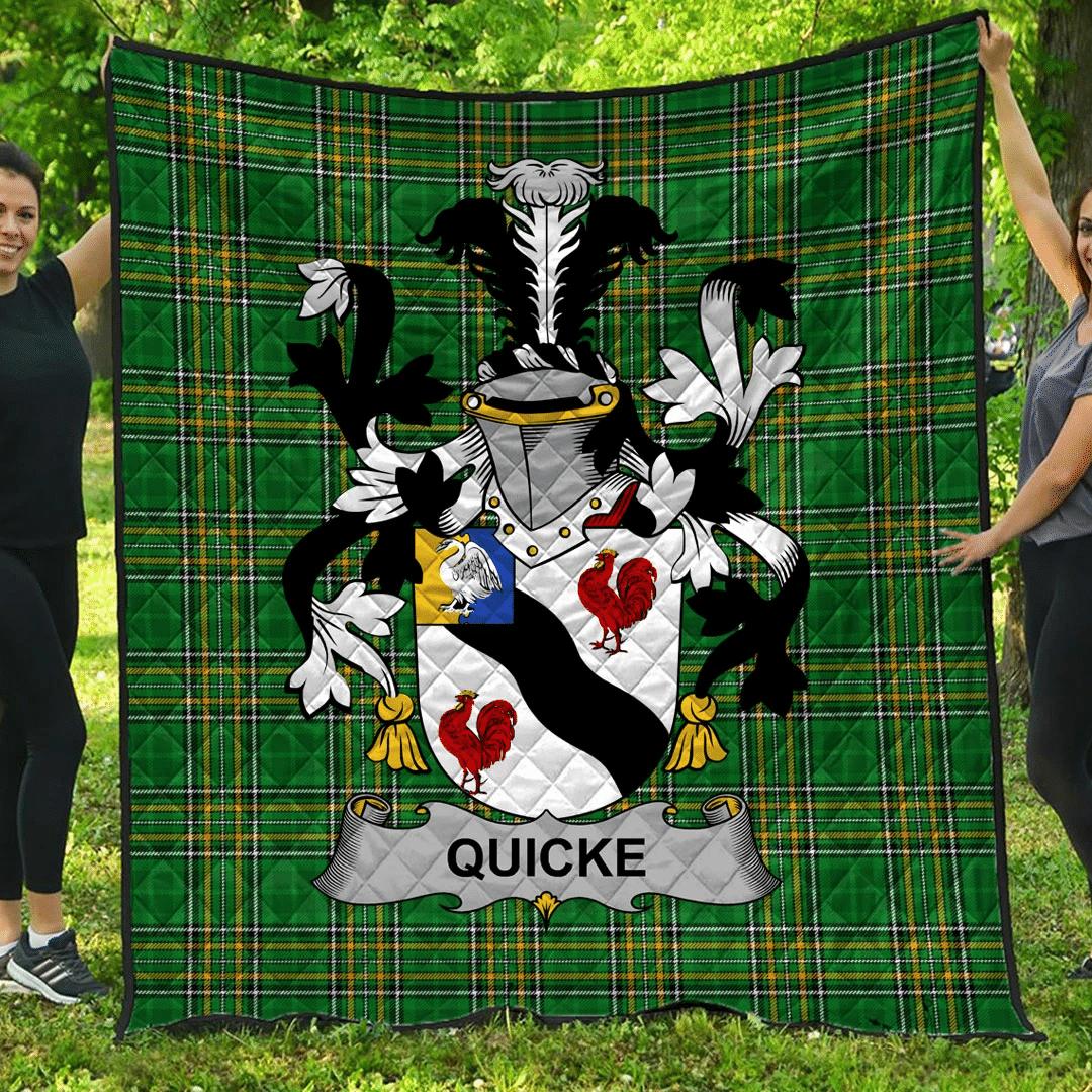 1sttheworld Premium Quilt - Quicke Irish Family Crest Quilt - Irish National Tartan A7