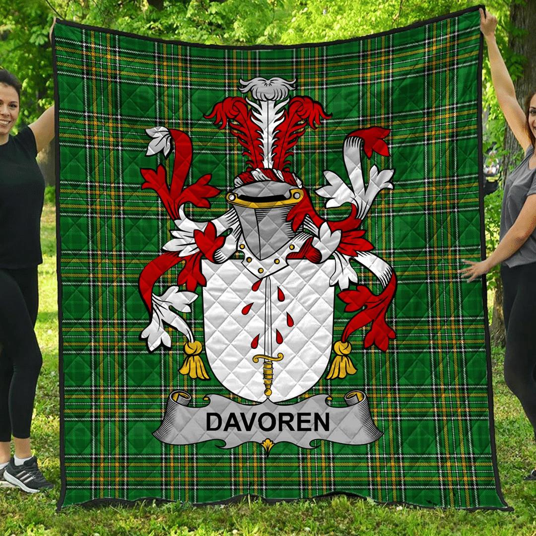1sttheworld Premium Quilt - Davoren Or O'Davoren Irish Family Crest Quilt - Irish National Tartan A7