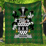 1sttheworld Premium Quilt - Higgin Or O'Higgin Irish Family Crest Quilt - Irish National Tartan A7