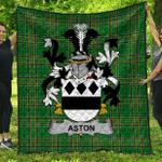 1sttheworld Premium Quilt - Aston Irish Family Crest Quilt - Irish National Tartan A7