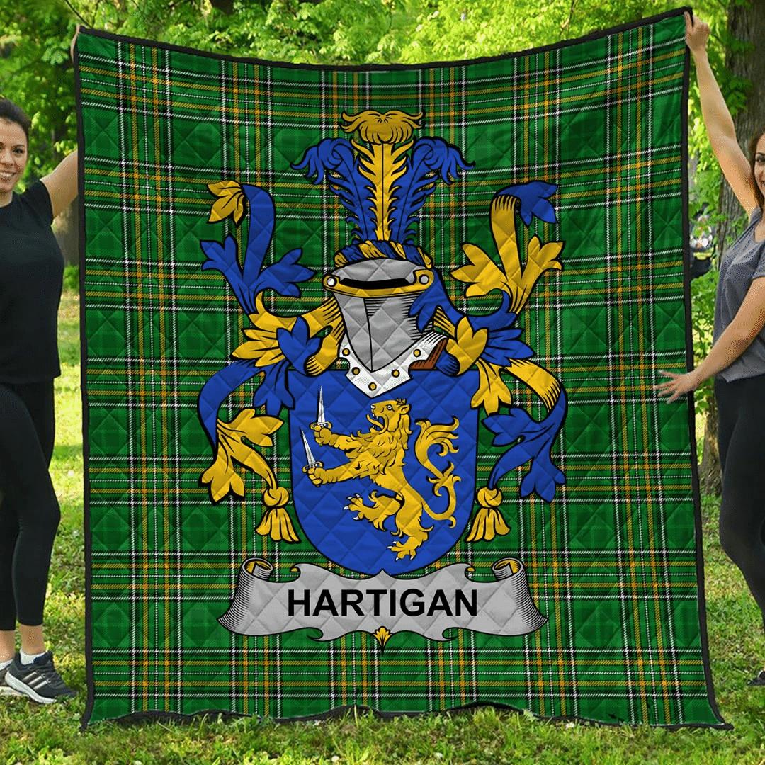 1sttheworld Premium Quilt - Hartigan Or O'Hartagan Irish Family Crest Quilt - Irish National Tartan A7