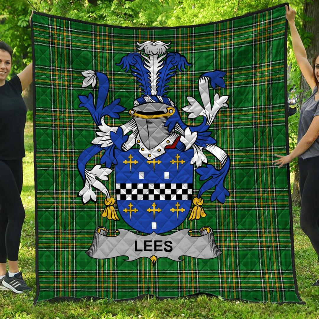 1sttheworld Premium Quilt - Lees Or Mcaleese Irish Family Crest Quilt - Irish National Tartan A7