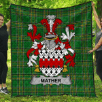 1sttheworld Premium Quilt - Mather Or Mathers Irish Family Crest Quilt - Irish National Tartan A7